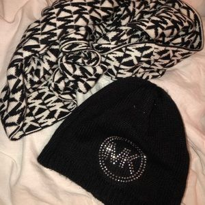 MK hat and infinity scarf set